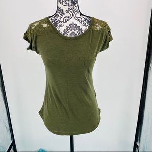 Paper + Tee Nordstrom olive lace detail top